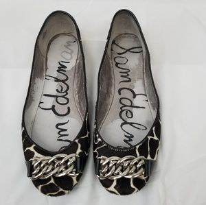 Sam Edelman Leather Giraffe Print Flats